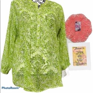 Will Smith Peasant Floral Sheer Button Blouse
